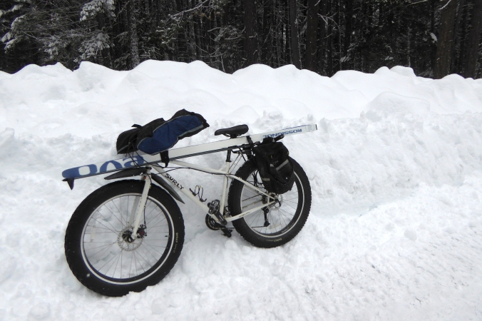 fat tire bike with skis strapped horizontally on it