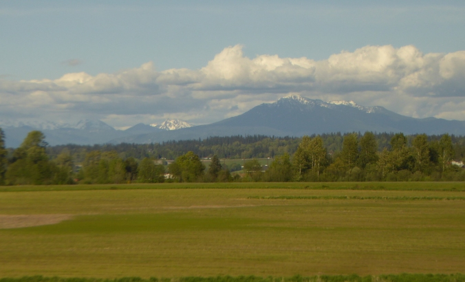 Farmland with view of tall snowcapped mountains in background