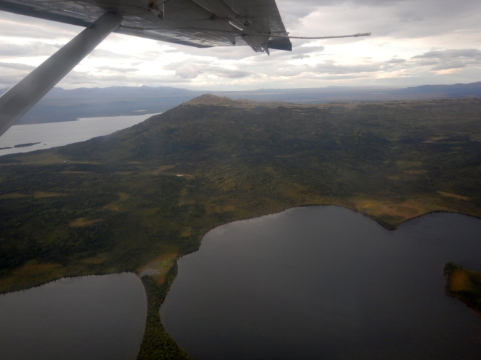 aerial photo of lakes and mountain