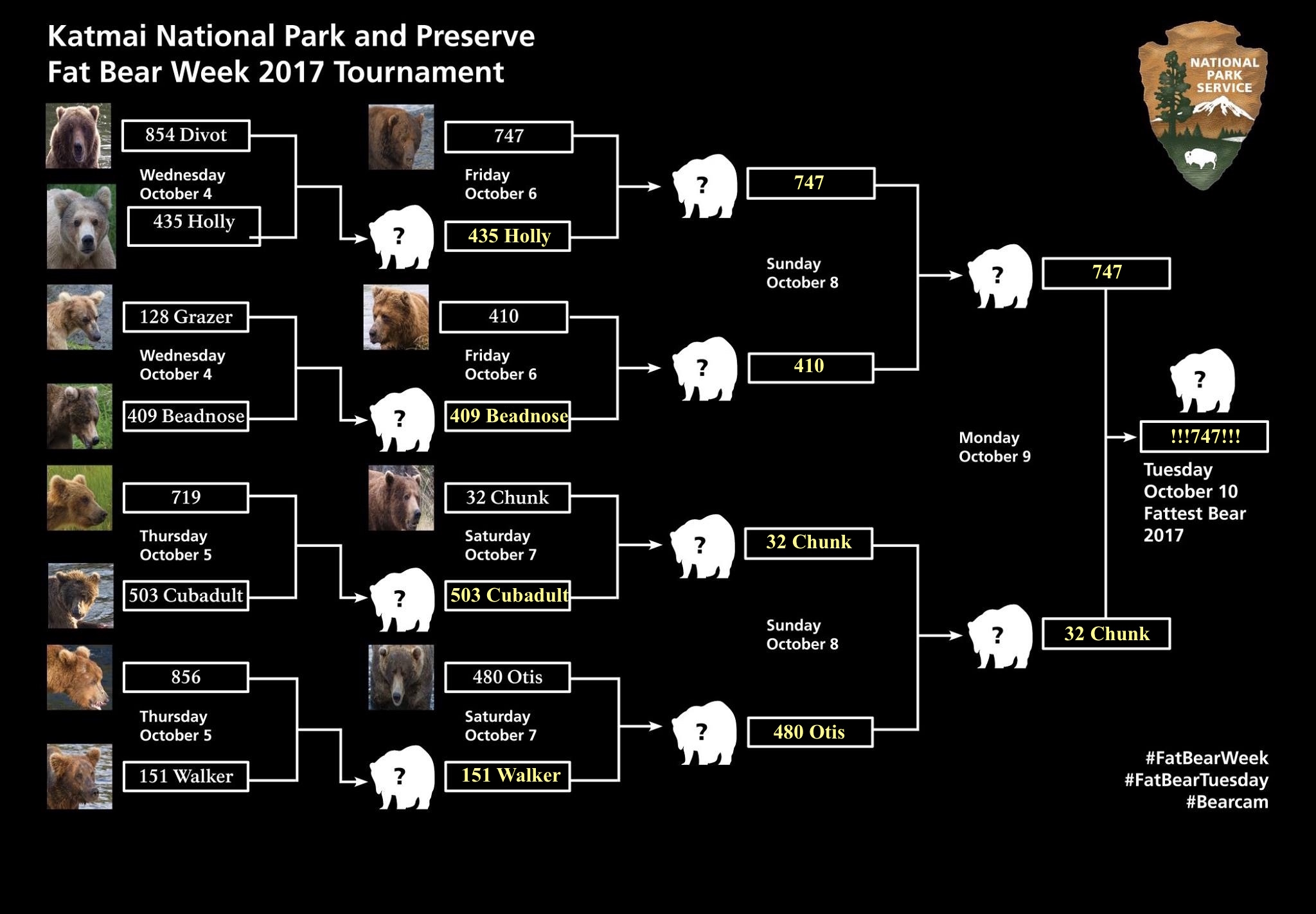 2017 Fat Bear Week bracket with 747 as champ