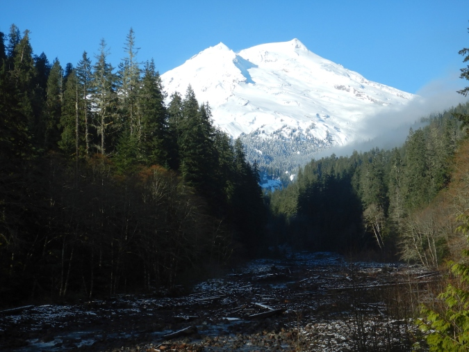 view of snow capped volcano and creek valley