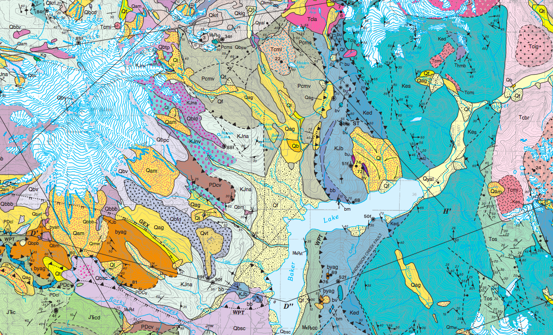 screen shot of geologic map of Mount Baker and Baker Lake area
