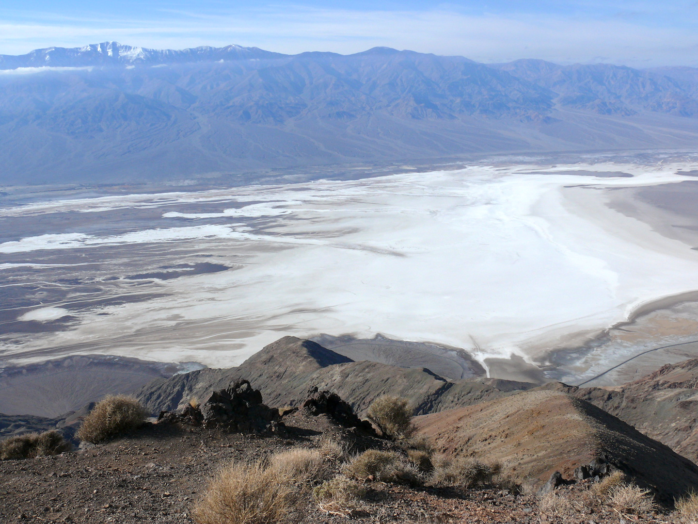 View of salt flats and mountains