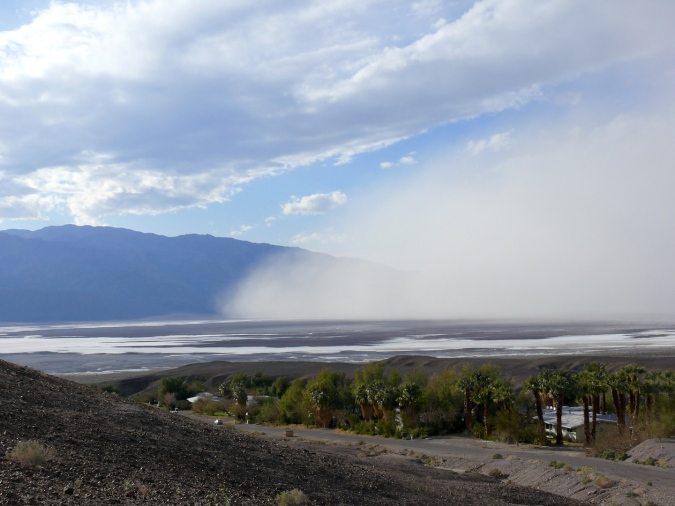 View of dust storm approaching from right.