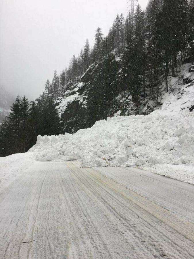 view of avalanche snow on road