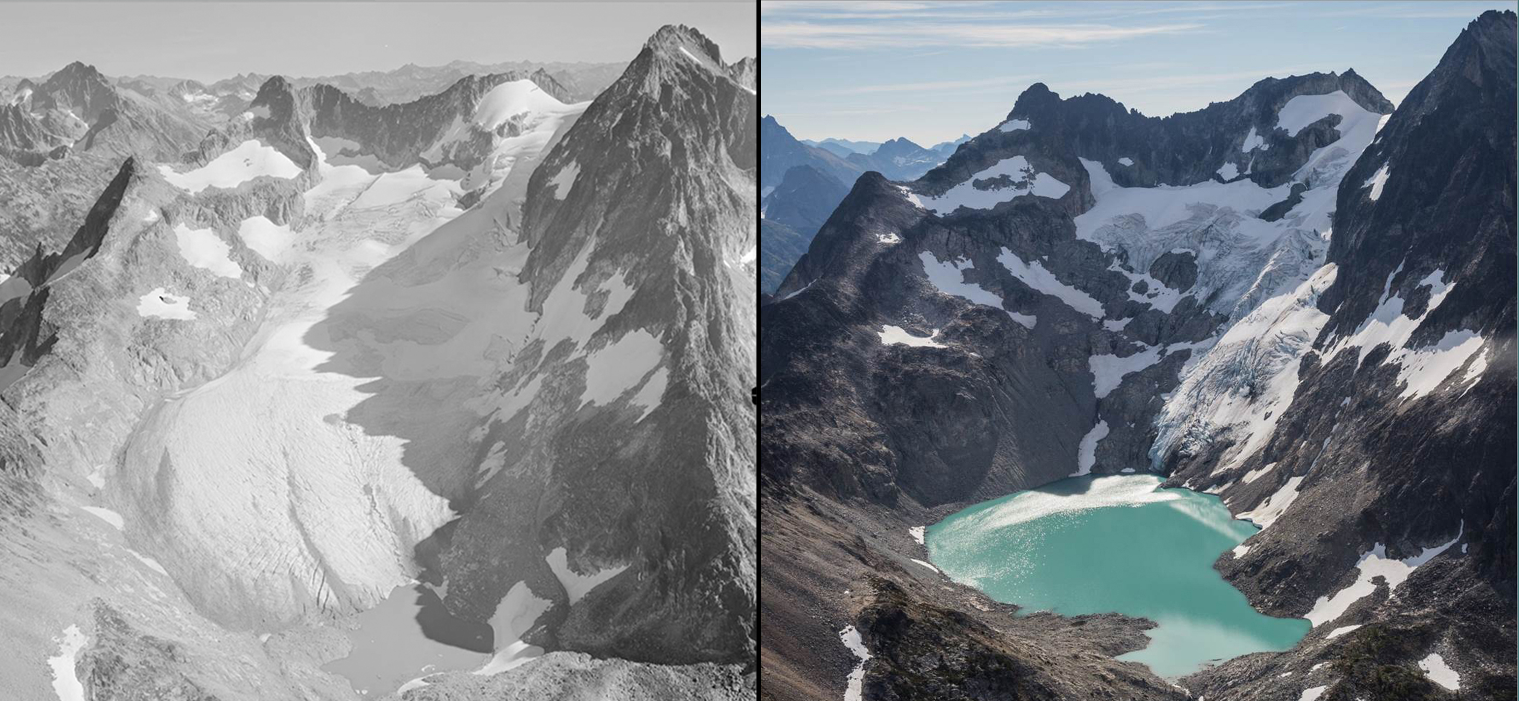 before and after photos of glacier.