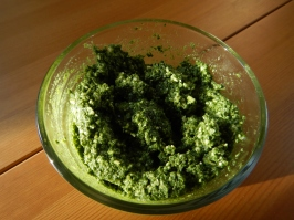 pesto in glass dish