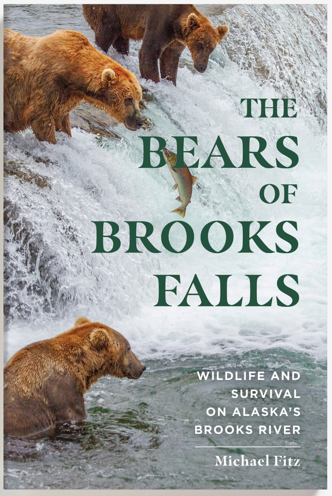 "Book Cover. Background image shows three bears at edge of waterfall while one salmon jumps out of the water. Text is ""The Bears of Brooks Falls: Wildlife and Survival on Alaska's Brooks River; Michael Fitz"""