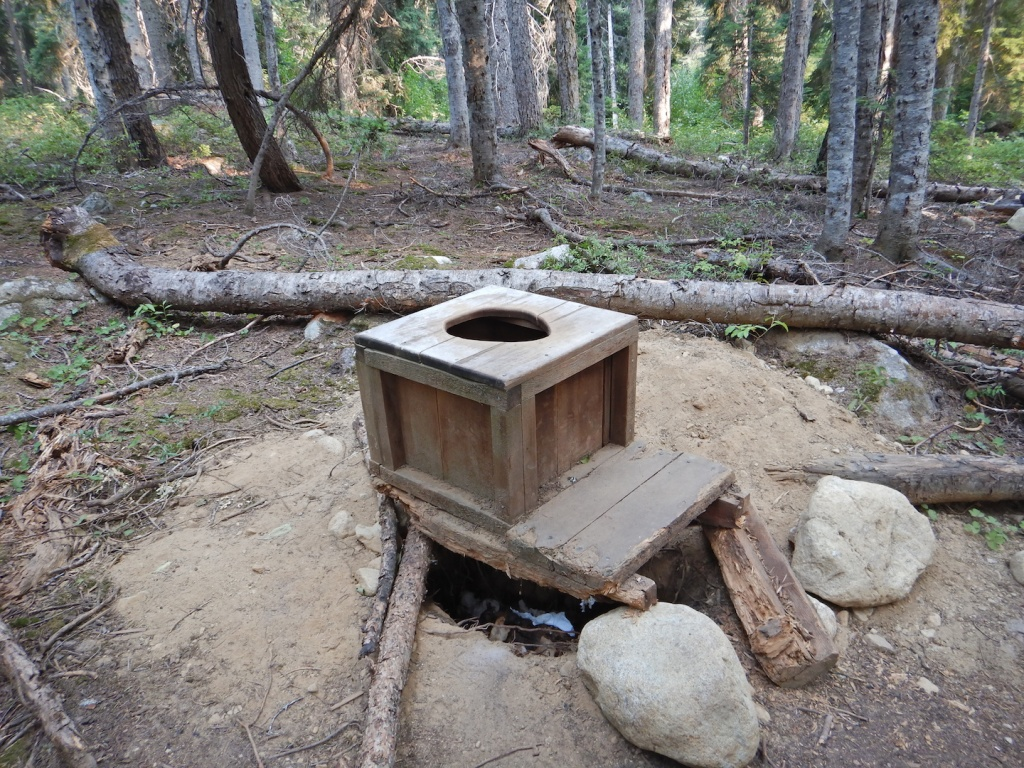 A toilet box in a forest.