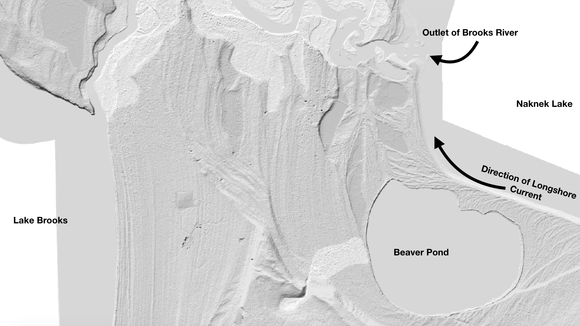 Black and white LIDAR image. Brooks River meanders near top of image. Labels say 'lake brooks,' 'outlet of brooks river,' 'naknek lake,'