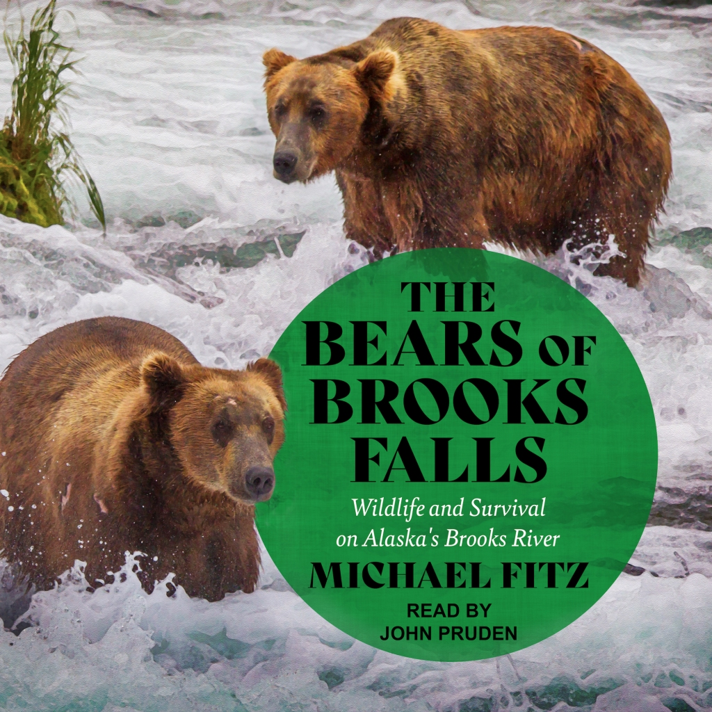 """Book Cover. Background image shows two bears standing in shallow white water. Text is """"The Bears of Brooks Falls: Wildlife and Survival on Alaska's Brooks River; Michael Fitz; read by John Pruden."""""""